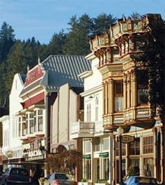 Ferndale Main Street lined with ornate Victorian buildings