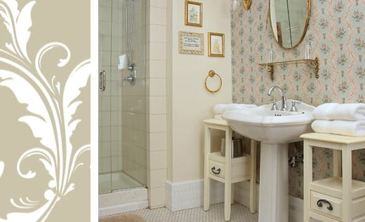 Maggie Russ bathroom pedestal sink and shower