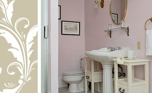 Emily Rose Room bath pedestal sink