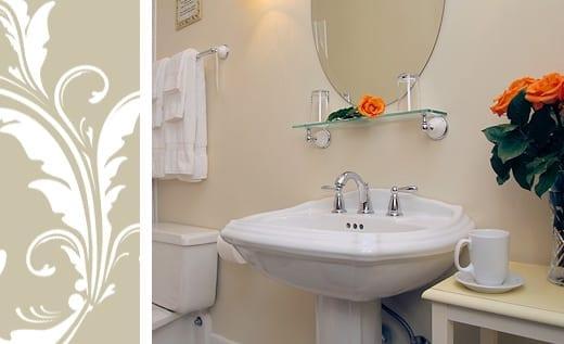 Maggie Russ bathroom pedestal sink and shower