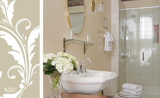 Ira Russ bathroom pedestal sink and shower