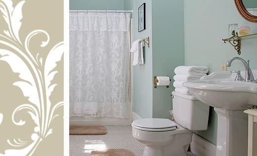 Sylvia's Room bathroom pedestal sink and shower
