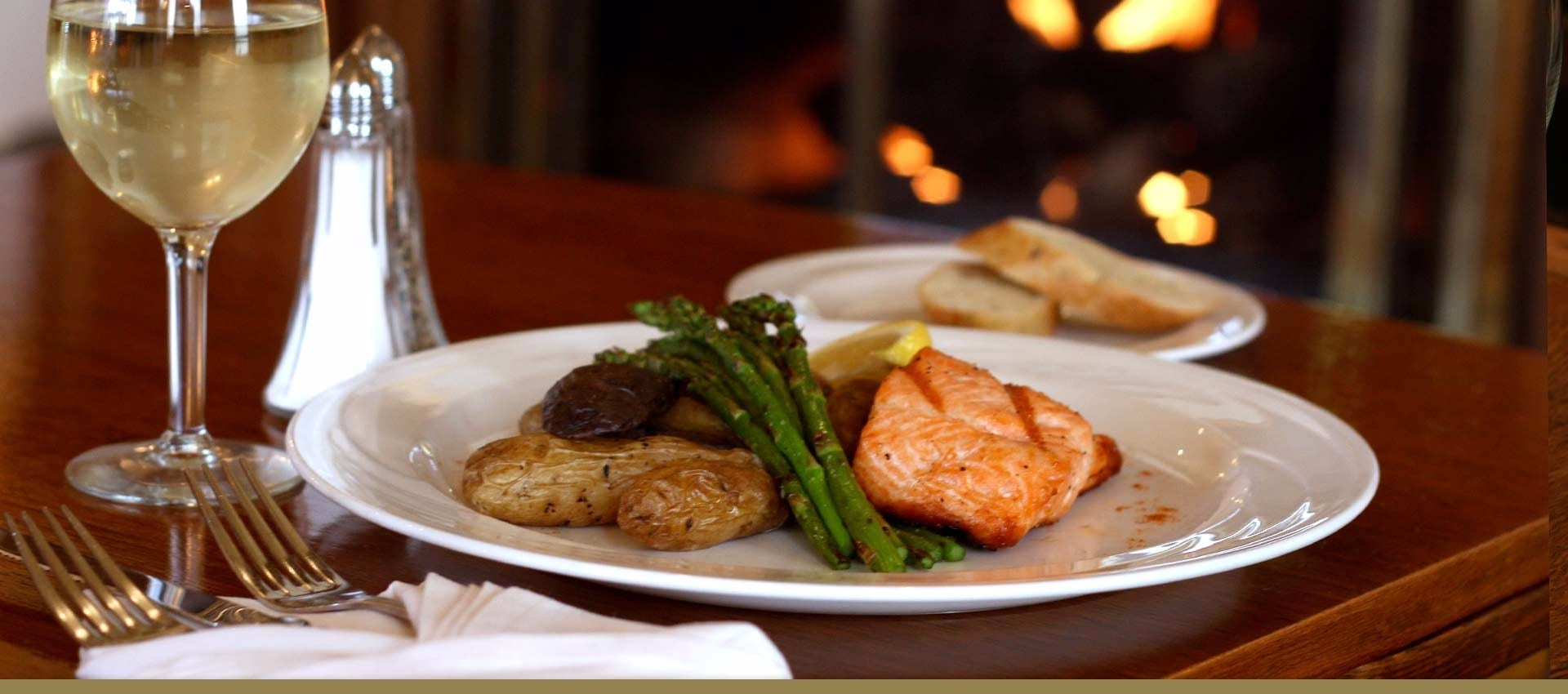 Fine Dining Salmon plate at Victorian Village Inn Restruarant