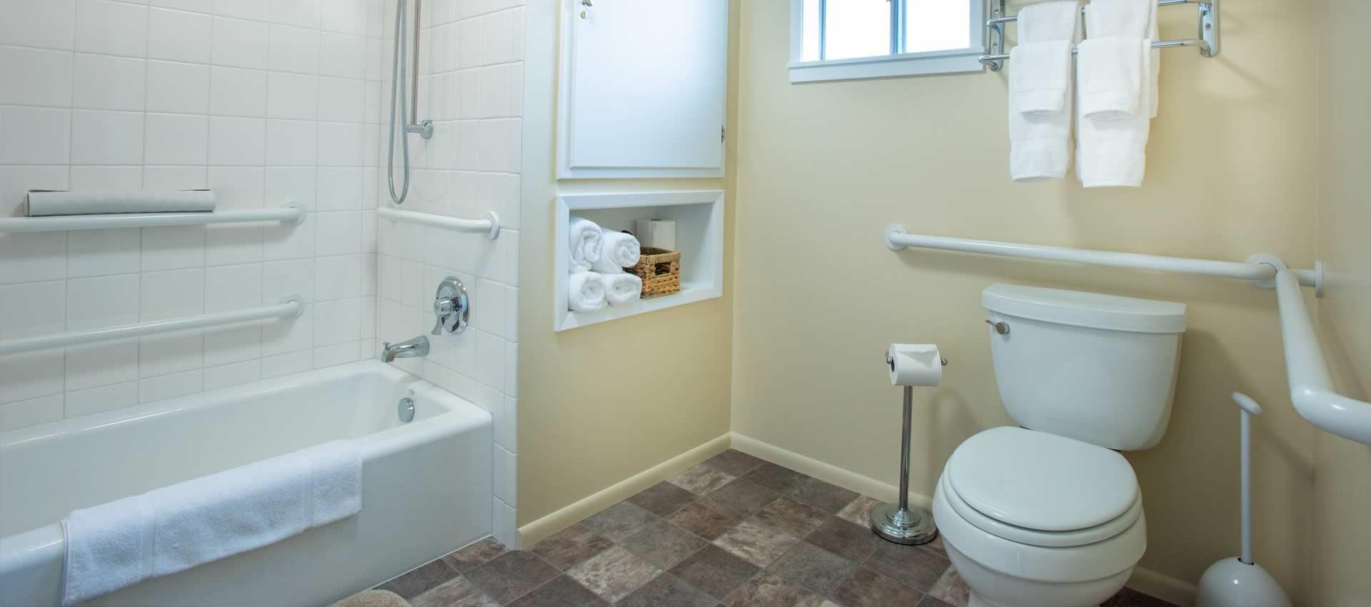 Redwood Suites- ada room bathroom showing the shower