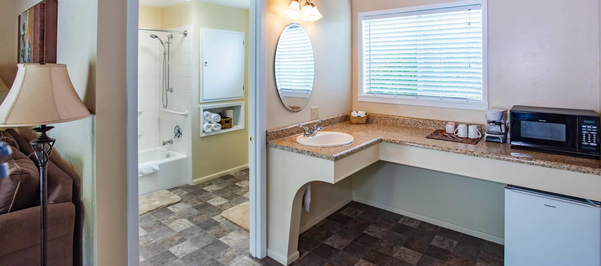Redwood Suites- ada room kitchen with coffee maker and microwave