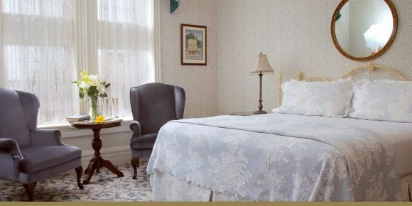 Viola McBride Room 203 bed and sitting chairs